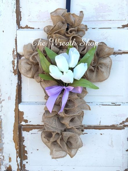 Burlap Cross-Shaped Wreath with Tulips                                                                                                                                                     More