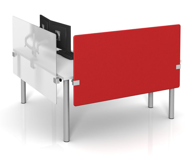 Height Adjustable Desk Dividers in Fabric and Frosted Acrylic by Merge Works