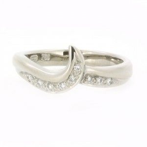 White Gold Bead Set Diamond Fitted Wedding Ring