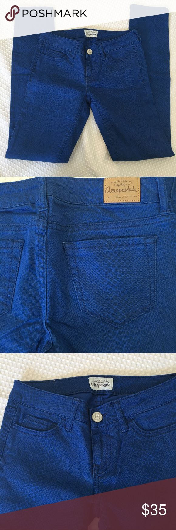 "Aeropostale Ashley Ultra Skinny Jeans Aeropostale Ashley Ultra Skinny Jeans in bright blue. Like new.  Snakeskin pattern. Size 00 regular.  28"" Inseam.  Cotton and spandex. Aeropostale Jeans Skinny"
