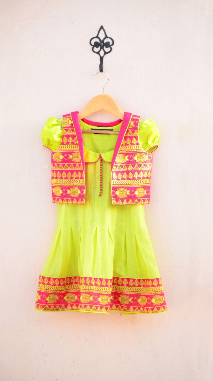 Pink and Lime Border Embroidered Dress and Waist Coat