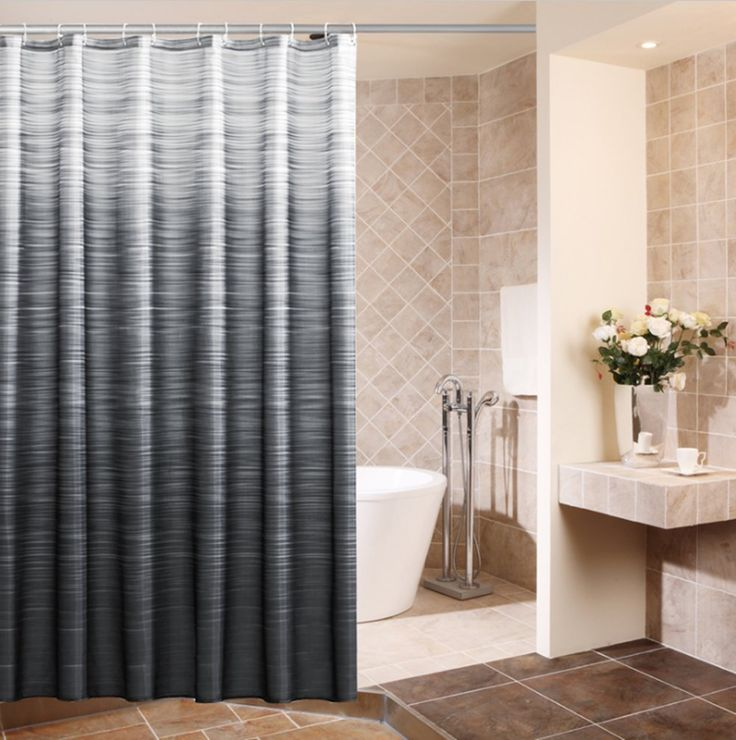 Eforcurtain Home Fashion Shower Curtain Ombre Striped Waterproof and Mildew Resistant Fabric Bath Curtain with Metal Grommets, Standard Size 72 By 72-Inch, Black and Grey