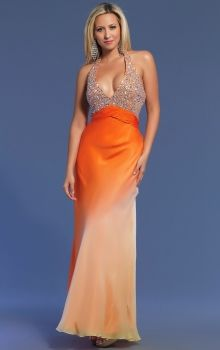 Orange Sheath/Column Halter Empire Long/Floor-length Sleeveless Chiffon Backless Prom Dresses Dress