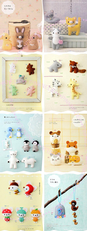 Hecho a mano lindo mascotas fieltro n3396 japonés arte libro