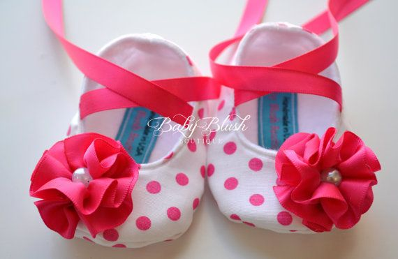 Shocking Pink Polka Dot Baby Shoes Soft by babyblushboutique