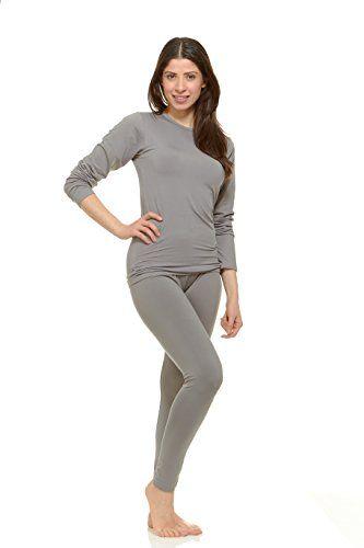3e3ebdd1af33 $21.99 Thermajane Women's Ultra Soft Thermal Underwear Long Johns Set With  Fleece Lined (Medium, Grey)