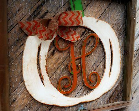 Framed Monogram Letter, Pumpkin Wooden, Door Hanger, Fall Decor