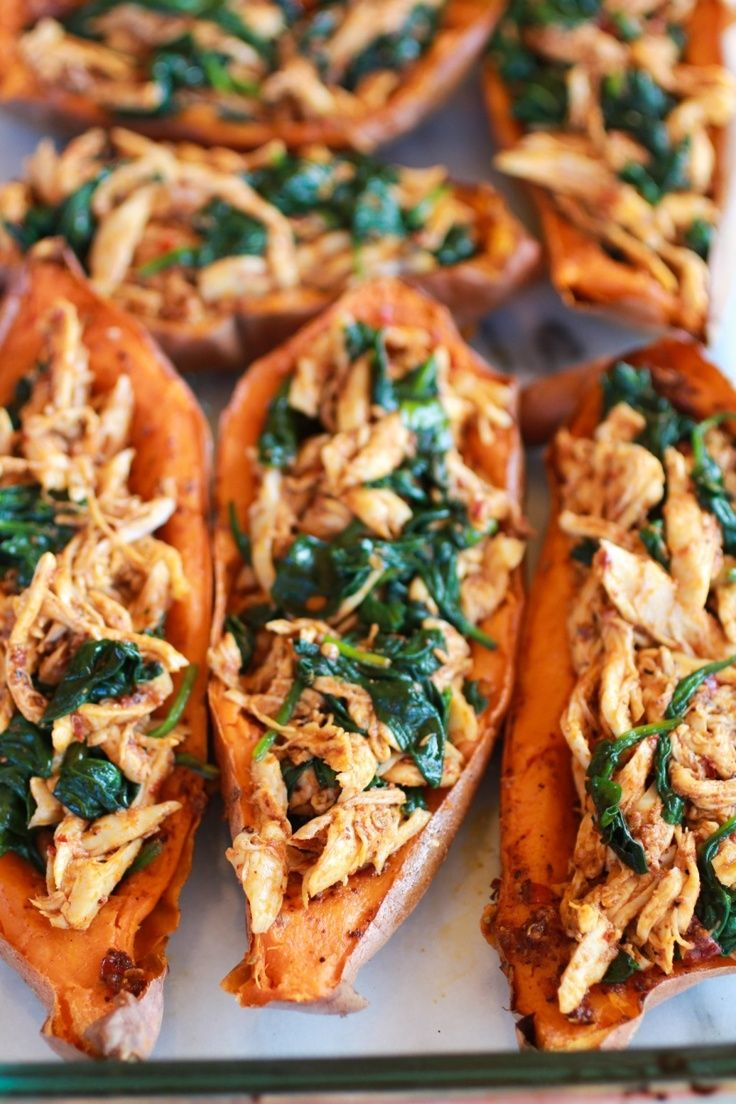 {healthy chipotle chicken sweet potato skins} one of my most favorite recipes! Need to figure out how to get the sweet potato skins crispier.