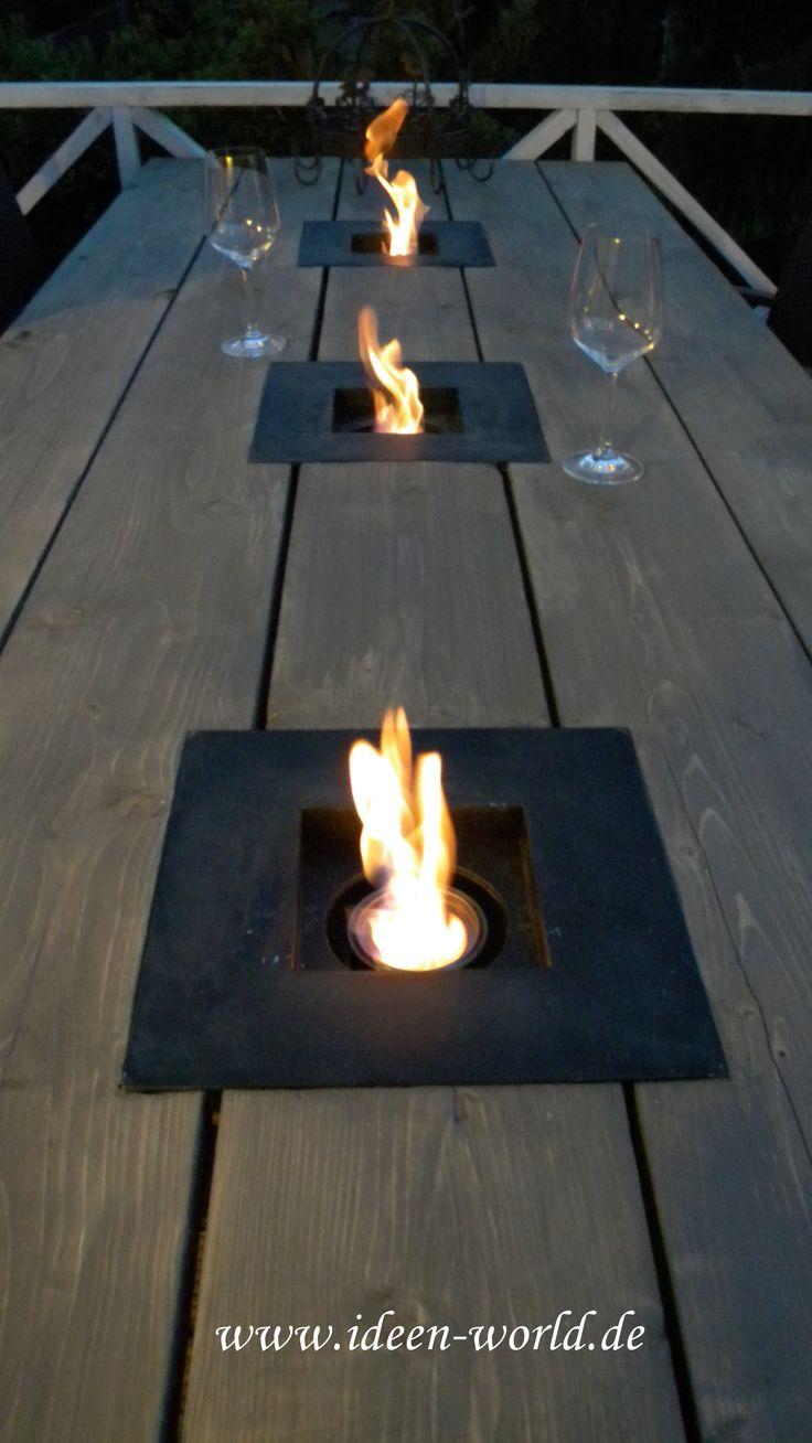 Tischfeuer Holz Tisch Garten