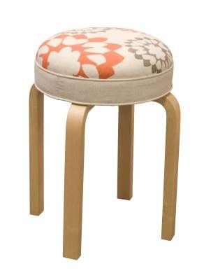 Judy Ross Textiles : collaboration with Artek to upholster this iconic stool in our chain stitch fabric. Shown in coral/smoke #artek #judyrosstextiles #stool