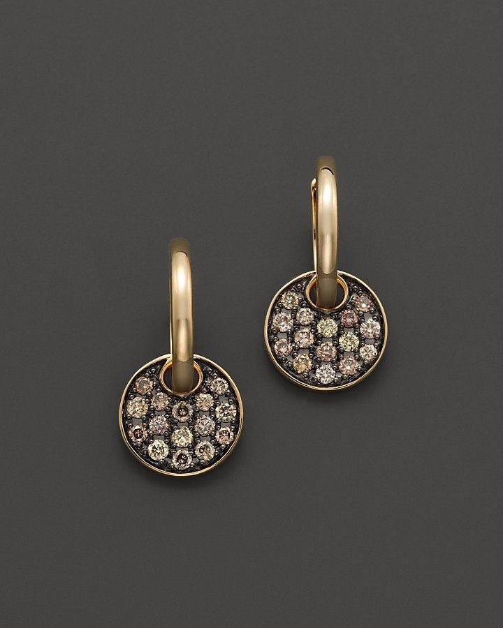 Brown Diamond Disk Drop Earrings in 14K Yellow Gold, .55 ct. t.w.