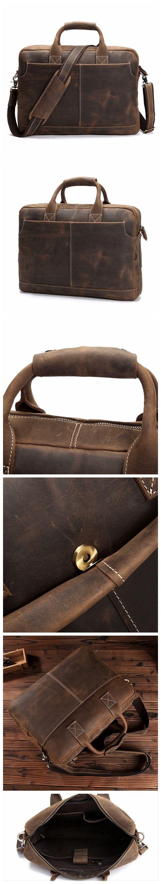 """ROCKCOW Men's Leather Durable Briefcase, 16"""" Laptop Bag 8012"""