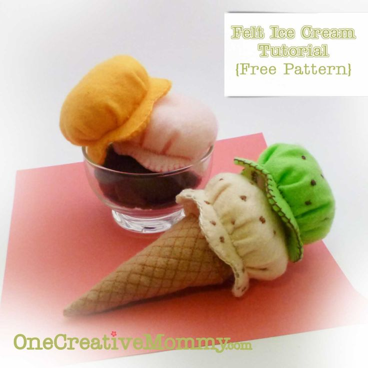 Felt Ice Cream Tutorial and Free Pattern {OneCreativeMommy.com}
