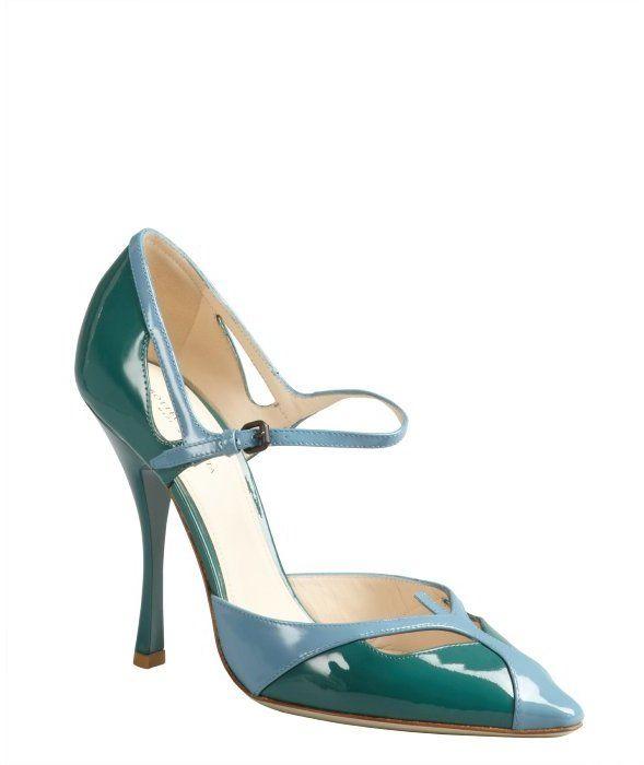 Bottega Veneta green and blue colorblock patent ankle strap pumps on shopstyle.com