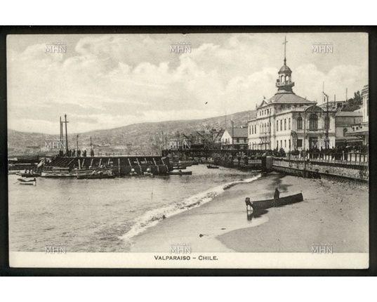 Postal Bahía de Valparaíso,  1900.                  Fuente:  Fotografía Patrimonial.  M.H.N.