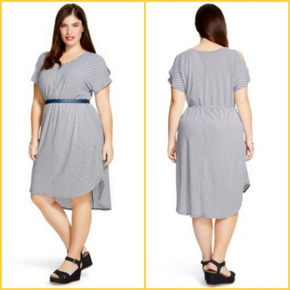 "AVA & VIV Plus Size Short Sleeve Dress Women's Plus Size Black & White Stripe Short Sleeve Dress, has a V Neckline, Open shoulder, cinched waist. Below the knee dress with a high low hem. Made in China, 57% Polyester, 39% Rayon, 4% Spandex. 42"" Length (back), 36"" Length (front) Ava & Viv Dresses"