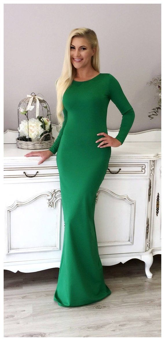 Fitted Bodycon Party Maxi Dress With Long Sleeves Closed Etsy Long Sleeve Fitted Maxi Dress Red Long Sleeve Bodycon Dress Long Bodycon Dress