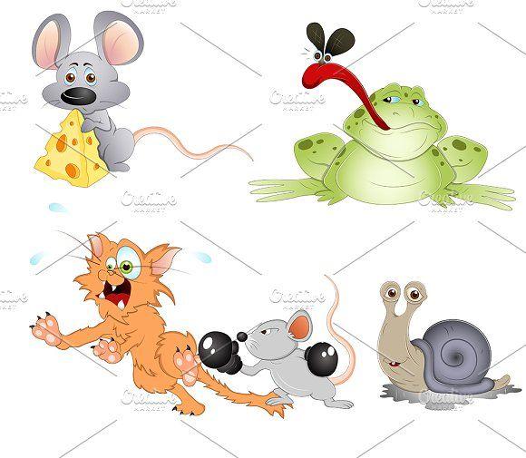 Cute Cartoon Animals Vectors by TrueMitra Designs on @creativemarket
