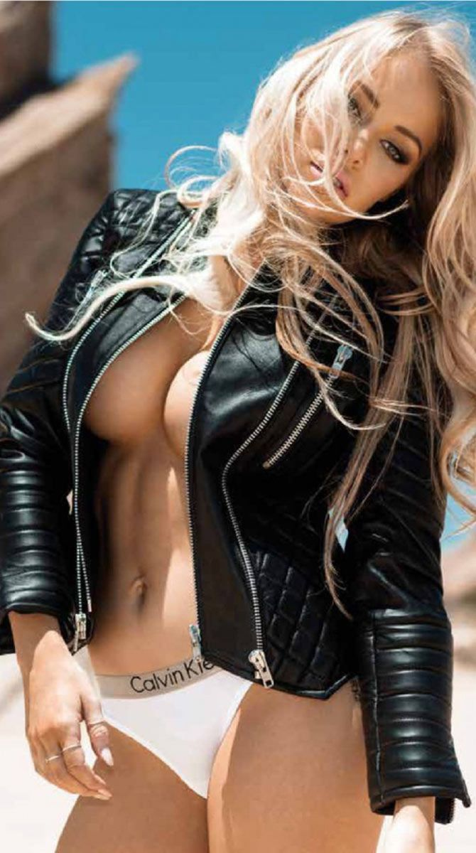 Naked girl in leather