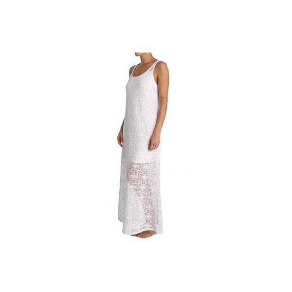 Tommy Bahama TSW82001C Crochet Lace Maxi Dress ($114) ❤ liked on Polyvore featuring dresses, swimwear, long lace dress, long white sundress, white maxi sundress, white lace sundress and long sundresses