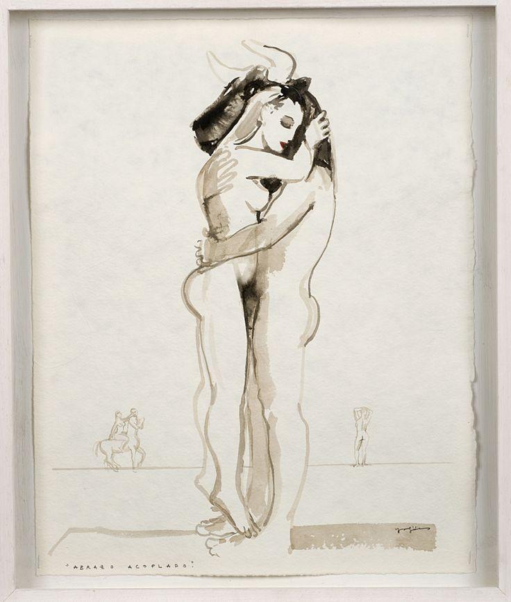 ABRAZO ACOPLADO. 47 x 37 cm. Nogalina y tinta china sobre papel. 1.200 €