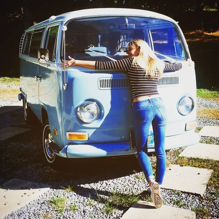 """29 Likes, 5 Comments - Ellen Ivanits (@ellenmagellan) on Instagram: """"Spotted! Sweetest baby blue VW bus ever and some weird girl who loves it a whole lot. #vw…"""""""