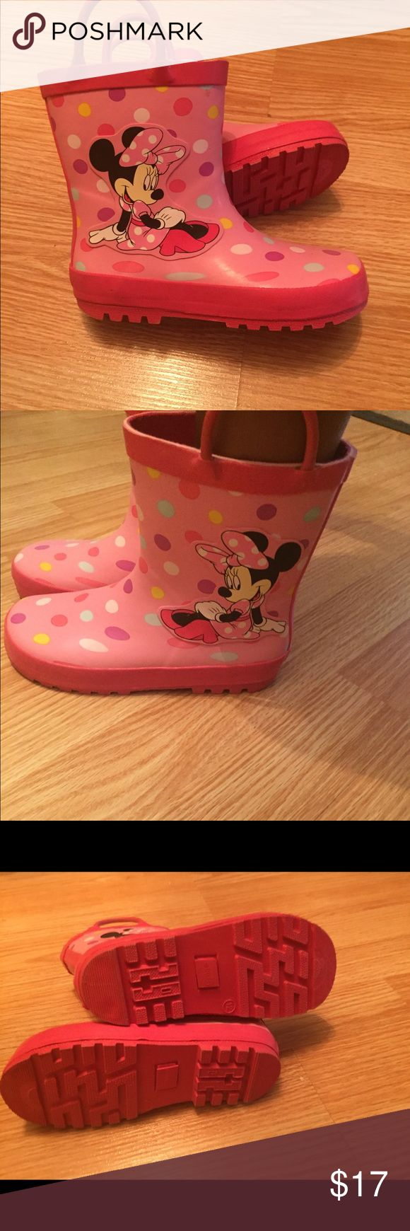 🔔 2 Day Sale 🎈Disney Minnie Mouse Rain Boots NWOT . Only tried on. Small scuff at side of left boot ( in pics) Disney Shoes Rain & Snow Boots