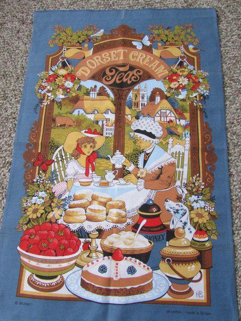 British Vintage Linen Tea towel - Dorset Cream Teas - Vintage Cotton Tea Towel - 100% Cotton - Made in Britian by MomsGiftShoppe on Etsy