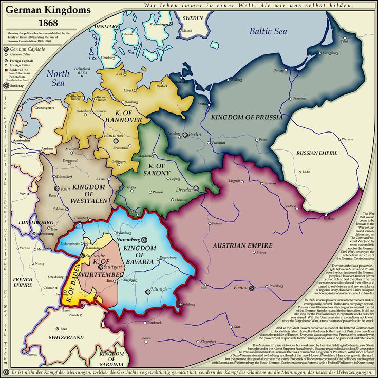 Map of German kingdoms in 1868 including capitals and major cities. Original from on whanzel.deviantart.com