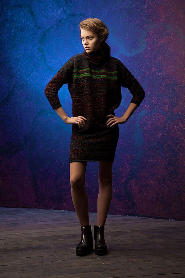 Lookbook fall-winter 2014-15. Dress - 340$ #25twentyfive25 #knitwear #dress #mohair #black #fashion #stripes