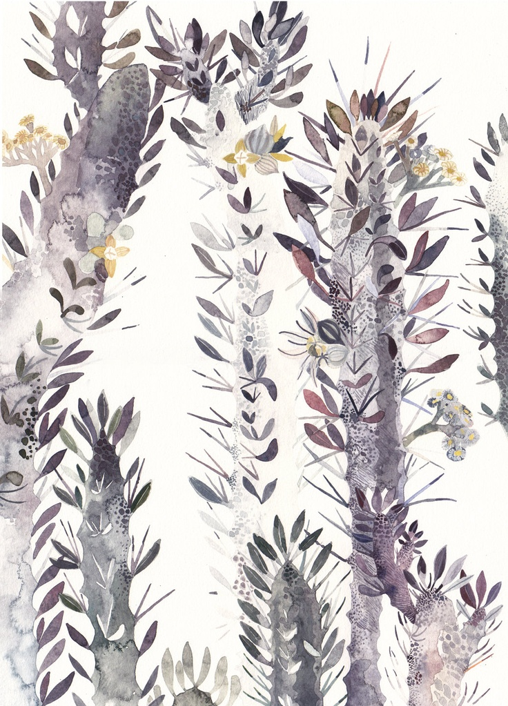 euphorbia trigona via etsy.: Michellemorinart Com Cactus, Prints Patterns, Patterns Inspiration, Watercolor Paintings, Euphorbia Trigona, Illustrations, Michelle Morin, Cards Patterns, Michele Morin
