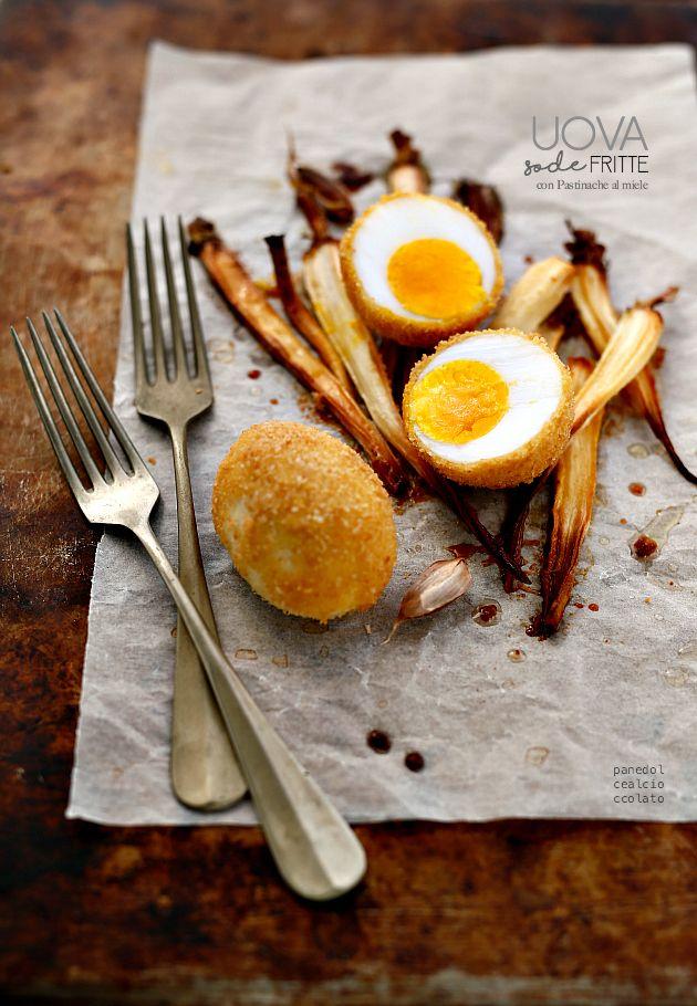 Uova sode impanate e fritte con Pastinache al miele
