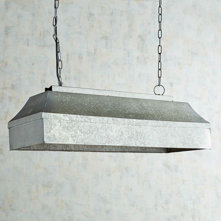 Galvanized Rectangular Pendant Light