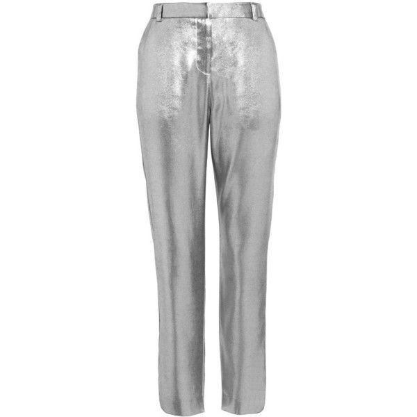 Women's Topshop Metallic Suit Trousers ($85) ❤ liked on Polyvore featuring pants, silver pants, shiny pants, cropped suit pants, tapered dress pants and cropped dress pants #womenpantssuits