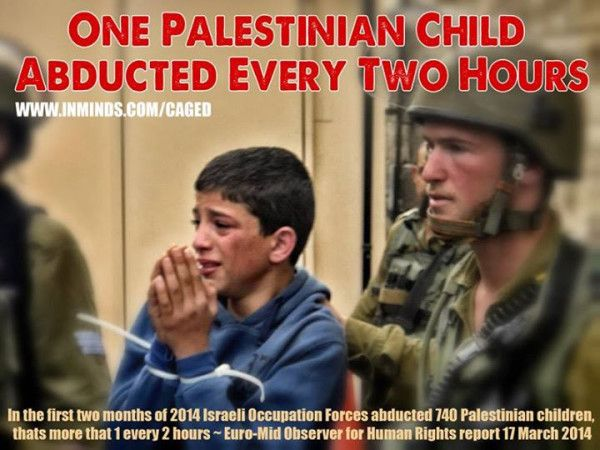One Palestinian Child Has Been Abducted By Israel Every Two Hours in 2014. #Child #Children #Palestine