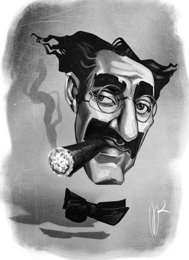 Groucho Marx Caricature by Marzio Mariani. #Celebrity #Caricatures #Oddonkey