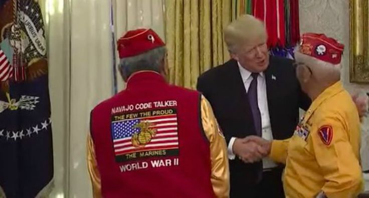 'What's the Navajo word for jack*ss?': Internet rains hell on Trump over 'Pocahontas' joke at Code Talker event