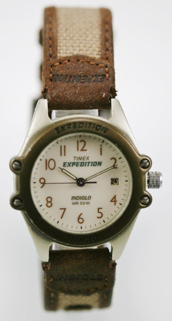 a14ae9a88d8f Timex Watch Womens Light Date Stainless Brown Beige Canvas Leather 50m  Quartz - watch liquidators