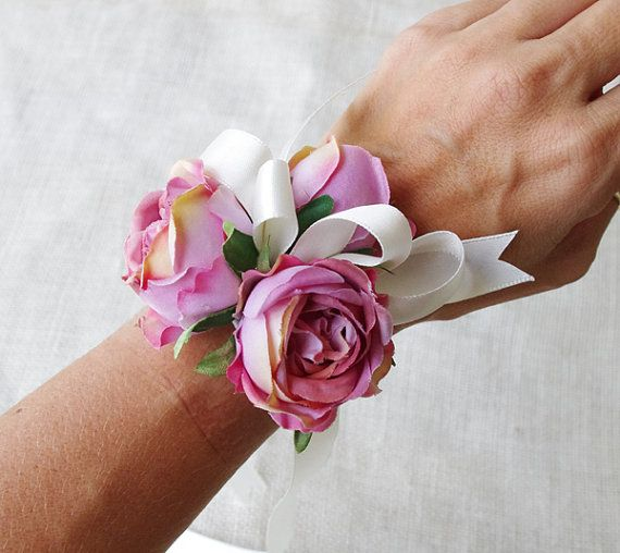 This is a Beautiful and Chic Wrist Corsage! Perfect for any Wedding or Prom!    This corsage will be made just for you with 3 Silk Vintage Pink Roses,