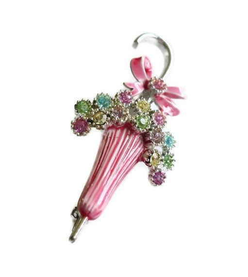 1950s umbrella brooch  enamelled pin  pink by QuinceVintage