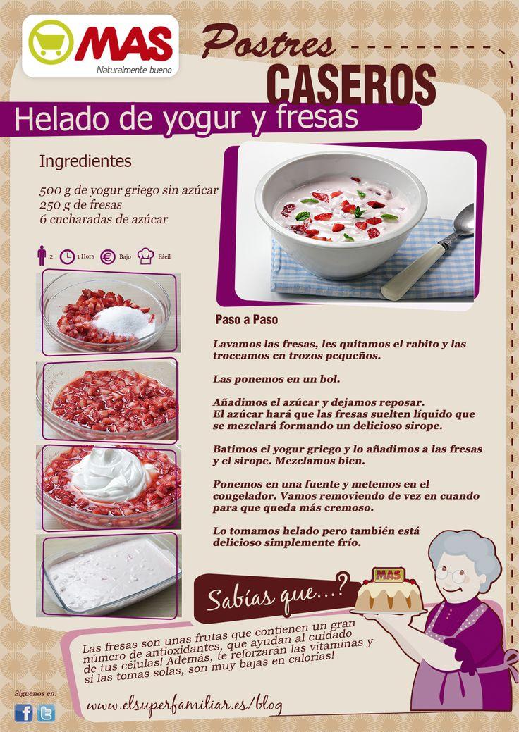 Helado de yogur y fresas