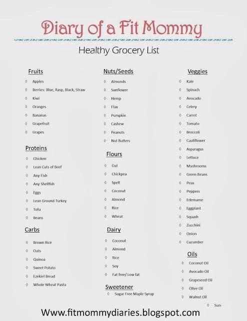 Free healthy grocery shopping list and 7 day workout plan.