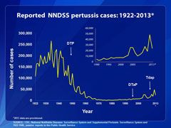 This line chart depicts U.S. reported pertussis incidence for reporting period 1922-2013. Detailed text description follows this figure.