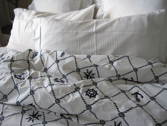 Rope Navy plaid Nautical Duvet cover Full Double QUEEN King Doona cover - Anchor Bedding - navy white sailor marine bedding on Etsy, $80.00