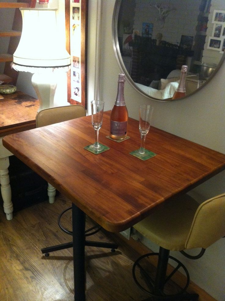Henfield client - custom made breakfast table using very old mahogany.