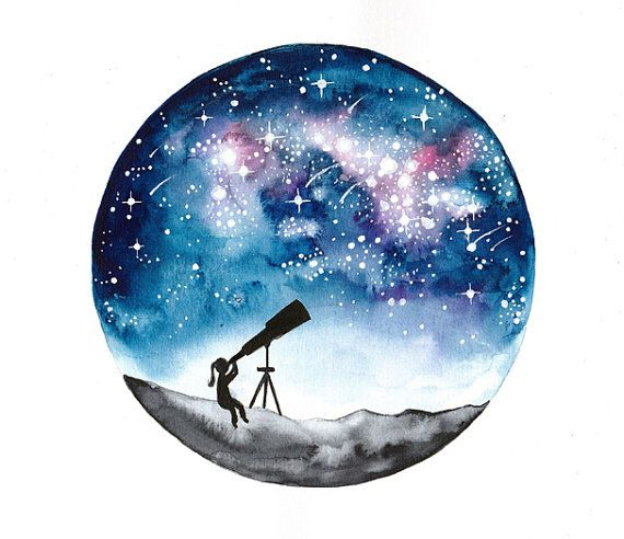 Original Watercolor Painting Stargazer Girl And By