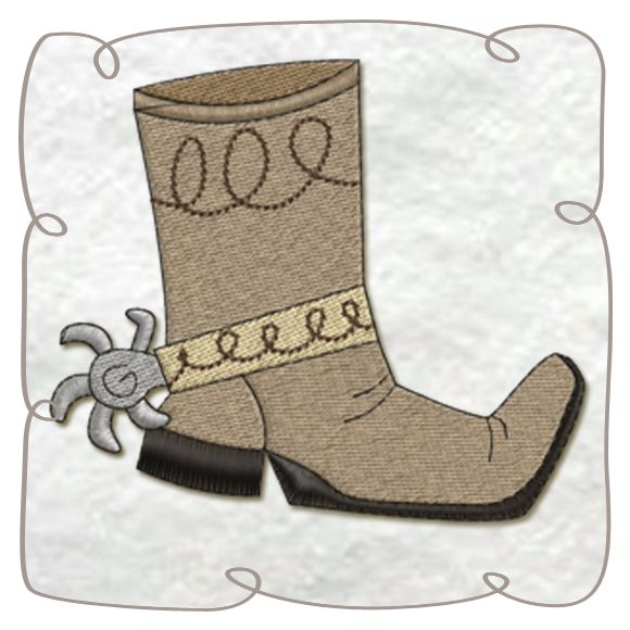 Cowboy Boots Machine Embroidery Design Pattern-INSTANT DOWNLOAD