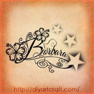 Name tattoos with stars and hearts