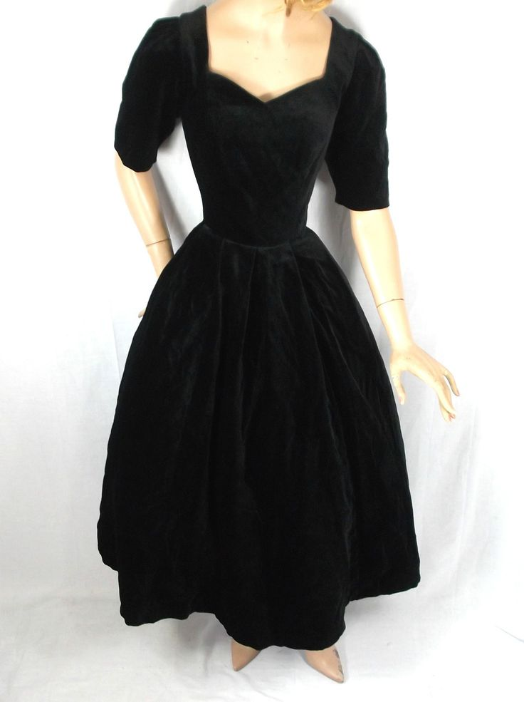 Vintage black velvet dress by Laura Ashley.