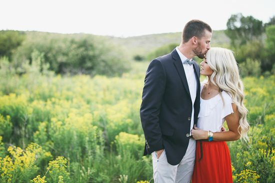 Couples photography engagement outdoors summer spring field